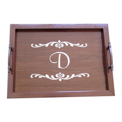 Monogrammed Wood Serving Tray with Handles, R - Whether you are serving an elegant dinner party or a romantic breakfast in bed, our Monogrammed Wood Serving Tray will add flair and style to your event.