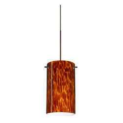 """Besa Lighting - Besa Lighting 1XC-440418 Stilo 1 Light Halogen Cord-Hung Mini Pendant - Stilo 7 is a classic open-ended cylinder of handcrafted glass, a shape that will stand the test of time. Our Amber Cloud glass is full of floating, vibrant warm tones that range from light gold to deep amber. When lit, the humid color palette illuminates to exude a harmonious display. This decor is created by rolling molten glass in small bits of brown hues called frit. The result is a multi-layered blown glass, where frit color is nestled between an opal inner layer and a clear glossy outer layer. This blown glass is handcrafted by a skilled artisan, utilizing century-old techniques passed down from generation to generation. Each piece of this decor has its own artistic nature that can be individually appreciated. The 12V cord pendant fixture is equipped with a 10' coaxial cord with teflon jacket and an """"Easy Install"""" Dome monopoint canopy.Features:"""