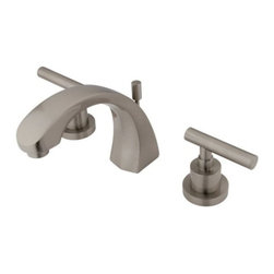 """Kingston Brass - Two Handle 8"""" to 16"""" Widespread Lavatory Faucet with Brass Pop-up KS4988CML - Two Handle Deck Mount, 3 Hole Sink Application, 8"""" to 16"""" Widespread, Fabricated from solid brass material for durability and reliability, Premium color finish resist tarnishing and corrosion, 1/4 turn On/Off water control mechanism, 1/2"""" IPS male threaded shank inlets, Ceramic disc cartridge, 2.2 GPM (8.3 LPM) Max at 60 PSI, Integrated removable aerator, 5"""" spout reach from faucet body, 5-1/2"""" overall height.. Manufacturer: Kingston Brass. Model: KS4988CML. UPC: 663370037931. Product Name: Kingston Brass Manhattan Two Handle 8"""" to 16"""" Widespread Lavatory Faucet with Brass Pop-up. Collection / Series: Manhattan. Finish: Satin Nickel. Theme: Contemporary / Modern. Material: Brass. Type: Faucet. Features: Drip-free ceramic cartridge system"""