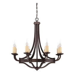 Savoy House - Savoy House Elba 1 Tier Chandelier in Oiled Copper - Shown in picture: Designed by Brian Thomas; Oversized candle sleeves - clean lines - and chunky riveted details add to the allure and authenticity of this forged iron piece.