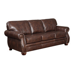 None - At Home Designs Monterey Natural Brown Leather Sofa - The Monterey sofa is an alluring family room set with styling that easily crosses over to the living room. French welt accents and elongated stitching down the back cushions add aesthetic appeal to any room.
