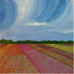 "landscapes on damask - Tulip Fields, 12"" x 12"", © Marcia Crumley, 2012"