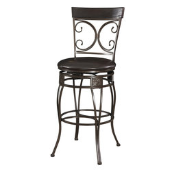 Powell - Powell Big and Tall Back to Back Scroll Barstool in Black - Back to Back Scroll Barstool in Black belongs to Big and Tall Collection by Powell The Big and Tall Back to Back Scroll Barstool has a classic design and style. The stool has a dark black finish and a plush black upholstered seat. Designed to suit people large and small, the seat is a generous size for optimal comfort. The tall back features a double scroll design, while the curvy bottom is accented with square, textured details. Perfectly suited for a kitchen bar or high top table.   Barstool (1)