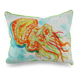 Betsy Drake - Betsy Drake Orange Jellyfish Indoor/Outdoor Throw Pillow 16 In. x 20 In. - This aquatic inspired throw pillow adds a beautiful pop of color to accent your home inside or out in tropical style with original artwork designed by artist Betsy Drake, an orange jellyfish comes to life in water-color style on this artistic pillow that's perfect for your living room sofa or the Adirondack chair on the patio and has a complementing bright green backing and piping around the edges. The 100% polyester cover is water repellent and it's filled with 100% polyester fiber. Measuring 20 inches long by 16 inches wide (51 cm by 41 cm), it would look amazing by a pool area, in the guest room or just tossed on the bed, and is made with pride in the U.S.A. It is recommended to spot clean only. This bright and cheerful throw pillow would make an excellent housewarming gift for any tropical decor fans