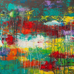 Saturation (Original) by Hilary Winfield - Saturation is an original, modern art painting from the Modern Industrial series. This one-of-a-kind painting was created with acrylic paint on gallery-wrapped canvas. It has a width of 18 inches and a height of 18 inches with a depth of 1 inch (18x18x1). The edges of the canvas have been painted black, creating a finished look so the canvas does not require a frame.