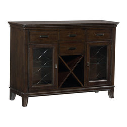 Standard Furniture - Standard Furniture Mulholland Boulevard Server with Wine Storage in Brown Cherry - Refined transitional details give Mulholland Boulevard its polished cosmopolitan style, perfectly complimented by a dressy, mink brown stain.