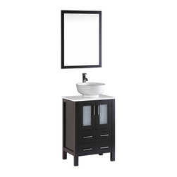 "Bosconi - 24"" Bosconi AB124RO Single Vanity, Espresso - Form meets function with this classic 24"" espresso Bosconi vanity. The simple modern lines are accentuated by the ceramic, round vessel sink and vertically mounted vanity mirror. Versatile features include a single cabinet with soft closing doors, spacious enough to store towels, toiletries and accessories."