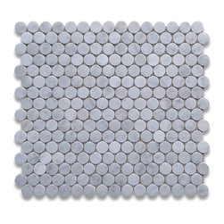 "Stone Center Corp - Carrara Marble Penny Round Mosaic Tile 3/4 inch Polished - Carrara white marble 3/4"" diameter round pieces mounted on 12"" x 12"" sturdy mesh tile sheet"