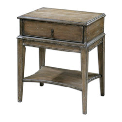 Uttermost - Uttermost Hanford Weathered Accent Table 24312 - Sun-washed, Weathered Pine With Burnished Edges And Light Antiquing Glaze.