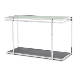 Zuri Furniture - Mosaic Cracked Glass and Stainless Steel Console Table - This extra ordinary design is perfect for that stand out piece in your home. The Mosaic's chic style of cracked glass and stainless steel frame, is sure to impress!