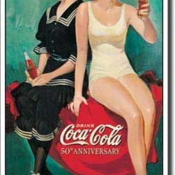 Tin Sign : Coke - 50th Anniversary Bathers - Tin Sign : Coke - 50th Anniversary Bathers by  Unknown. 16.0 X 8.5 inches. Give your home the that nostalgic feel with Tin Signs! You will find old style signs for your Bathroom, Living Room, Garage and even Bar Tin Signs.  Please check the exact shipping times on the item details. Actual item does not have any watermarks. All items ship fully insured, largest selection, and high end frame.
