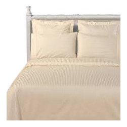 SCALA - 1000Tc Stripe King Size Ivory Color Sheet Set - We offer supreme quality Egyptian Cotton bed linens with exclusive Italian Finishing. These soft, smooth and silky high quality and durable bed linens come to you at a very low price as these come directly from the manufacturer. We offer Italian finish on Egyptian cotton, which makes this product truly exclusive, and owner's pride. It's an experience and without it you are truly missing the luxury and comfort!!
