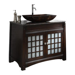 "Dark Granite Counter Top Vessel Sink Rosario Bath Vanity 38"" - The Rosario is a modern style vessel sink vanity cabinet with a touch of Asian flavor. The distinctive element is the slim line simplicity and elegance."