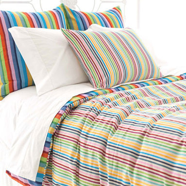 Pine Cone Hill - rainbow stripe duvet cover - Designed in the Berkshires of Massachusetts, every item from the pine cone hill bedding collection has been tailored from high quality imported textiles in a variety of versatile neutrals, vibrant hues and engaging patterns. Choose from textiles that weave a complementary theme throughout your entire bedroom and beyond. Many patterns and colors are available in blankets, duvets. throws, decorative pillows, shams and bed skirts.