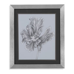 Bassett Mirror - Bassett Mirror Framed Under Glass Art, Silver Blue Tulips III - Silver Blue Tulips III
