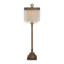 iMax - Maeveen Crystal Beaded Table Lamp - Beaded, bedazzled and bejeweled: A Becky Fletcher lamp design in iron catches the light with a shade embellished with faceted crystal beads.