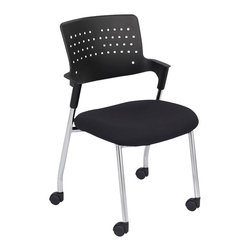 Safco - Safco Spry Guest Chair in Black (Set of 2) - Safco - Guest Chairs - 4013BL - Be Spry™ with how you work. The generously proportioned seat of the Spry™ is made from contoured sculpted foam to minimize pressure points and give you a relaxing sit throughout your day. The perforated back allows for enhanced circulation while the radius conforms to your back for exceptional comfort. Even more luxury awaits with the set back arms that help maximize legroom without hindering the width of the chair. The Guest chair stacks up to four high and is available with a Black plastic back and casters. The chairs are available in Black (BL) Beige (BE) and Gray (GR). Limited Lifetime Warranty.