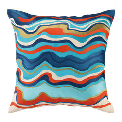 """Trina Turk - Trina Turk Waterflow Blue Embroidered Pillow - The Trina Turk Waterflow throw pillow takes colorful cues from the vibrant West Coast. Artistic and graphic, the square accessory sets a serene mood with its bold wash of organically curved lines. 20""""W x 20""""H; 100% linen; Embroidered in aqua, navy blue, gold and orange; Handcrafted; Includes 95/5 feather down pillow insert; Dry clean only"""