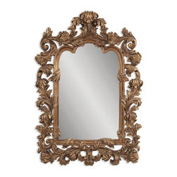 Bassett Mirror - Arch Mirror w Antique Gold Finished Frame - Home decor accents. 48 in. W x 69 in. H