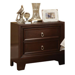 Coaster - Coaster Nortin Two Drawer Nightstand in Dark Cherry - Coaster - Nightstands - 202192 - You'll have an ideal bedside companion with this nightstand. The piece carries a rich dark cherry finish and features features strong horizontal lines and emphasizes geometric balance. In addition the two drawers are wonderful for keeping books magazines pens diaries lotions and alarm clocks. Provide your bedroom with a complete look by adding this night stand to the decor.
