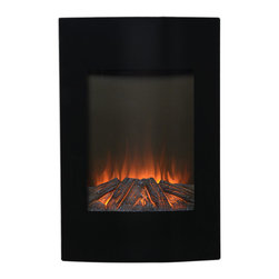 None - Black Metal 35-inch Tall Wall Mount Electric Firebox - Create allure and add utility with this exquisite black bow fronted Wall Mount Electric Fireplace. It will not only warm you up through the cold days,but also enhance the ambiance of virtually any room.