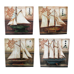 Zeckos - Set of 4 Sailboat Painted Canvas Wall Hangings Nautical - This set of four stretched canvas wall hangings is great for people who love sailing. Each wall hanging features a different style of sailboat model, sitting on a shelf, with a ship's wheel and a lighthouse poster in the background. Each painting is 11 3/4 inches square. They look great displayed together or separately.