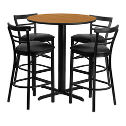 "Flash Furniture - 24"" Round Natural Laminate Table Set with Metal Bar Stools - Black Seat - No need to buy in pieces, this complete Bar Height Table and Stool set will save you time and money! This set includes an elegant Natural Laminate Table Top, X-Base and 4 Metal Ladder Back Bar Stools. Use this setup in Bars, Banquet Halls, Restaurants, Break Room/Cafeteria Settings or any other social gathering. Mix in Bar Height Tables with standard height tables for a more varied seating selection. This Commercial Grade Table Set will last for years to come with its heavy duty construction."