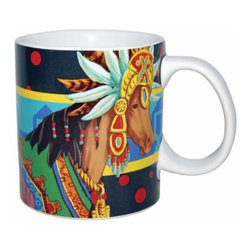 "WL - 4"" Brown Horse Wearing Aztec Headdress and Blanket 14 oz Coffee Mug - This gorgeous 4"" Brown Horse Wearing Aztec Headdress and Blanket 14 oz Coffee Mug  has the finest details and highest quality you will find anywhere! 4"" Brown Horse Wearing Aztec Headdress and Blanket 14 oz Coffee Mug  is truly remarkable."
