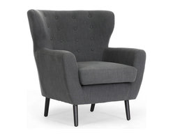 Baxton Studio - Lombardi Dark Gray Linen Club Chair - Groovy! This mid-century club chair takes casual, elegant dark charcoal gray linen upholstery and covers a fun, unusual form. The result? Our Lombardi mod club chair! The sturdy wooden frame and polyurethane foam cushioning make for a stable, dependable perch for reading, lounging, or enjoying your morning cup 'o Joe. The legs are black-coated wood with non-marking feet. This peerless style is made in China, requires some assembly, and is also available in light gray. Spot clean only.