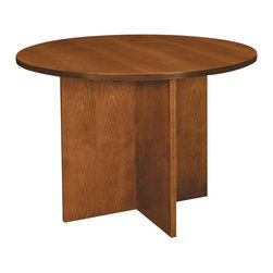 "Hon - Basyx 42"" Round Veneer Conference Table - You can talk it out — and, if that doesn't work, bang your fists — on this sturdy conference table. It's finished in a cherry laminate and features a 42-inch round tabletop that fits easily in most offices. It would also make a great lamp or display table in your waiting room."