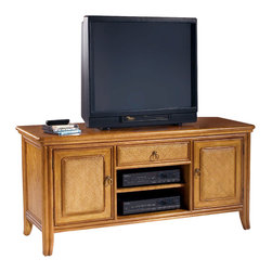 American Drew - American Drew Antigua TV Stand in Toasted Almond - Antigua combines popular materials, finishes, hardware and shapes and blends them with pieces for today's lifestyles. It is a collection sure to add a sophisticated coastal or tropical flare to any home. Unique options for bedroom make it easy to create the perfect setting that fits your style.