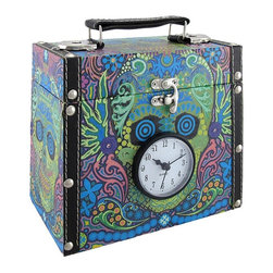 Day of the Dead Sugar Skull Stash Box/Trunk with Clock - This awesome stash box provides a place to store small keepsakes while adding a colorful accent and a clock to the room! The box is made of wood, covered with canvas, and measures 6 3/4 inches tall, 7 3/4 inches long, 4 inches wide. The lid is hinged, has a clasp closure, and had a carry handle on the top. Pull the 2 1/2 inch diameter clock face straight out of the front of the box to set the time and install 1 AAA battery (not included). This box looks great on shelves, desks, or bookcases and makes a great gift for a skull loving friend.