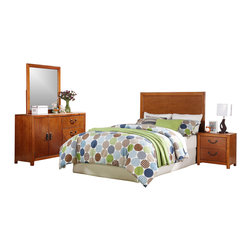 Powell - Powell Finley Full Bed in a Box Set X-891-188 - The Finley Full Bed in a box will make furnishing your youth or guest bedroom simple - the classic cherry wood will complement a wide range of decor and styles and it includes everything you need in one box. The headboard is a square shape with wood trim and the matching nightstand has two drawers for storage. The dresser has ample room for all your clothes and linens, it includes a wide door 2-door opening with an adjustable shelf on one side and three large drawers on the other side. There is a detachable mirror on top of the dresser that is 42 inches tall with wood trim.