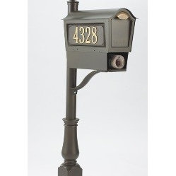 Whitehall Products LLC - Deluxe Chalet Mailbox Package - Bronze - Deluxe Chalet Mailbox Package: Includes Chalet Mailbox, Deluxe Post with Bracket and Finial, Personalized Side Panels (2) and Newspaper Box