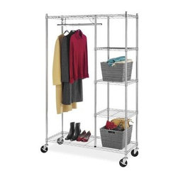 Whitmor - Rolling Garment Shelves Rack - Whitmor's 6058-4320-BB Supreme Rolling Garment Rack with Shelves features a durable chromed steel frame  extra strong wire shelves and a chromed steel hanging bar. Two of the four heavy duty wheels feature a locking option for solid placement. It is easy to assemble with no tools needed and as a part of Whitmor's Supreme Chrome Collection comes with a 10 year warranty. This rolling garment rack is perfect for attic  garage  kitchen  office  bathroom  laundry room or anywhere you may need extra storage with a portability feature.  This item cannot be shipped to APO/FPO addresses. Please accept our apologies.