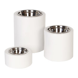 Unleashed Life - High-rise White Collection  Feeder, Small - High-rise Elevated Dog Feeders with High Gloss White- Simple yet practical and with a twist of contemporary, the High-rise Elevated Feeders in classic high-gloss white porcelain are a beautiful dining accent for any pet.