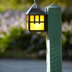 "Brass Light Gallery - Path Lighting at Ragdale Visitor Parking Lot - A clever lighting design solution for path and landscape lighting, our Bungalow™ Lantern 6"" Wide Flush Path Light features the same premium quality of construction as all the rest of our hand made exterior light fixtures. Shown in Verdigris finish with Gold White glass and Craftsman overlay. Product Code: EX-6306-A15-PATH."