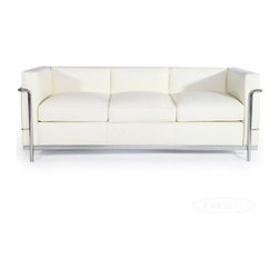 """IFN Modern - Le Corbusier LC2 Style Sofa-Ivory - 100% Italian Leather - Created by one of the most well-known Swiss-French architects Le Corbusier (Charles-Edouard Jeanneret-Gris), the LC line is Le Corbusier's successful effort at fusion of urban style with the industrial steel age as a breakthrough to modernism. Like a cushion cradle, the LC Reproduction line boasts a unique, stylish and attention-grabbing externalized frame that holds the cushions like little baskets. Originally designed for the Maison la Roche in Paris as part of Le Corbusier's 2 projects, the final product of chrome-plated tubular steel chairs have now become an iconic timeless collection imbued with elegance and class. As a specialized manufacturer of famous mid-modern designer furniture, the LC Line Reproduction by IFN Modern also reflects these qualities not only in terms of classy and elegant appearance but also in utmost care in details such using premium construction material in 100% full grain leather and solid stainless steel. This collection features:1. A cushioned sofa/""""bed"""" to comfortably fit 3 people or for a relaxing lay after a day's of work.2. Signature look of externalized steel frame 3. Plush cushions that stay in shape to cradle the contours of the delicate body for a perfect fit and comfortable session. 4. Back to front to bottom, side to side fully upholstered in full grain Italian/Aniline leather5. Hassle-free maintenance from easily detachable cushions from frame 6. Functionally elegant piece sofa/bed piece • Product is upholstered in 100% Full Grain Italian Leather, 100% Full Grain Aniline Leather or Fabric • Variety of colors available• Long lasting durability and strength with high grade solid stainless polished steel frame resistant to chipping/rusting.• Silky smooth corners from detailed welding, grinding and sanding• Balanced stability on all surfaces with adjustable floor-leveling footcaps• Plush cushions that stay in shape for short-long sessions comfort with high """