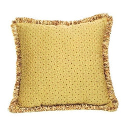 "Canaan - Chachi Gold Diamond Pattern Print 20"" x 20"" Throw Pillow - Chachi gold diamond pattern print 20"" x 20"" throw pillow with ribbon loop trim. Measures 20"" x 20"" made with a blown in foam. These are custom made in the U.S.A and take 4-6 weeks lead time for production."