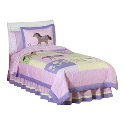 Sweet Jojo Designs - Pretty Pony Children's Bedding Set Full/Queen (3-Piece) - The Pretty Pony Children's Bedding Set by Sweet Jojo designs, will help your little girl saddle up for sweet dreams! This soft pastel horse and pony bedding set uses a collection of coordinating 100% cotton fabrics in a beautiful color palette of light pink, purple, sage green, and butter yellow. It is detailed with microsuede appliques and embroidery of ponies, flowers and horseshoes.