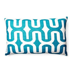 5 Surry Lane - Blue Aquarius Embrace Lumbar Pillow - Add a pop of color and pattern to your sofa, bed or favorite chair with this punchy patterned pillow.  Same fabric front and back.  Down feather insert included.  Hidden zipper closure.  Made in the USA.