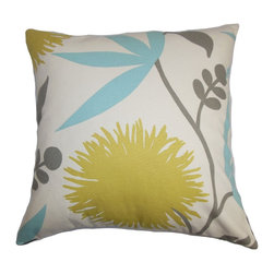"The Pillow Collection - Huberta Floral Pillow Yellow Blue 18"" x 18"" - Give your home a summer makeover by adding this pretty accent pillow. Toss this square pillow anywhere inside your home where it needs some styling. This 18"" pillow comes with a refreshing color palette in shades of yellow, blue, gray and white. Coordinate other textures and colors with this 100% cotton-made throw pillow for a personalized look. Hidden zipper closure for easy cover removal.  Knife edge finish on all four sides.  Reversible pillow with the same fabric on the back side.  Spot cleaning suggested."