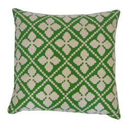 JITI - Sand Dollar Green Pillow - A bright green pillow packs a punch of cheerful style. The petal-like center of a sand dollar creates a lovely pattern — just the look for your lively living room.