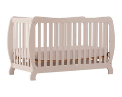 Stork Craft - Stork Craft Monza II 2-in 1 Fixed Side Convertible Crib in White - Stork Craft - Cribs - 04587341 - A throwback to the retro modern design era of the mid-twentieth century the Monza I Fixed Side Convertible Crib by Stork Craft Furniture is sure to be a welcome addition to your nursery.This crib features a unique retro curve on the back and a dipped curve along the front allowing effortless access to your baby. The clean detailing and bowed posts create a truly striking piece. All four sides are stationary and include an adjustable three position mattress support base to add to the security and stability of this epoch crib. This crib will grow with your child as it converts from a standard crib to a full-size bed (full size bed rails not included).  This piece is made of solid wood and wood products offered in a selection of non toxic durable finishes. Set-up this modern work of art with ease by following the simple easy to follow assembly instructions provided by Stork Craft. Complete your nursery look by adding a Stork Craft changing table chest dresser or glider and ottoman.