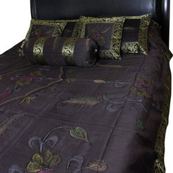 Banarsi Designs - Hand Painted Floral 7-Piece Duvet Cover Set, Coffee Brown, Queen - Our decorative and unique 7-piece hand painted floral duvet cover set from Banarsi Designs includes: 1 duvet cover, 2 square pillow covers, 2 rectangular pillow covers, and 2 bolster pillow covers.