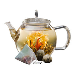 Teaposy - Teaposy Celebrate Gift Set - Let the beauty of the present moment unfold quietly before your eyes. This exquisite tea set includes a crystal clear handblown glass teapot and an assortment of special teas that blossom magically into exotic, colorful blooms as they steep. Your teatime never felt so special.
