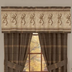 Kimlor Mills - Browning Buckmark Window Valance - Decorated in earth tone colors and an outdoorsy motif, this Buckmark Window Treatment dresses your window with a rustic feel. With a brown and beige plaid patten, the window treatment accentuates the Buckmark Bedding for a complete look.