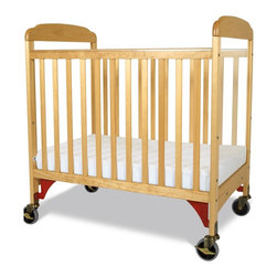 Foundations - Compact Hardwood Crib - Serenity - The crib was manufactured in 2011 or later and complies with the new federal safety standards issued by the CPSC. Made of Hardwood. Includes Professional Series 3 in. ultra-durable Antimicrobial mattress and 2 in. non-marking, ultra-quiet casters (2 locking). Adjustable, 2 position mattress board. High quality construction includes mortise and tenon joinery and high strength fasteners for superior durability. Solid Steel, SafeSupport crib frame has a lifetime warranty. Plastic teething rails protect child and crib. Crib has full 5 year warranty, with lifetime warranty on frame, casters and hardware. Some assembly required. 26.25 in. W x 39.15 in. L x 40 in. H (40 lbs.). Crib Safety: ivgStores cares about the safety of the products we sell especially for your new little one. We work closely with our manufacturers and only carry those items which meet or exceed federal and state laws. If you are considering buying a new crib or even using a previously owned or heirloom crib, we recommend you visit  cribsafety.org to learn more about crib safety.There are reasons why Serenity cribs are the most widely used cribs in US child care facilities. Color coordinated finishes are matched with hardware and casters for added beauty. Fixed-side crib features a lower profile, providing easier accessibility to infant while reducing back strain for caregiver. Crib features Clearview end panels which allow for easy viewing of infant. Crib may be used with optional First Responder Evacuation System, not included. JPMA certified.  Foundations uses only wood certified to having been harvested with safe and responsible forestry practices and all products comply with the PEFC certification seal.
