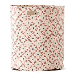 Pehr Berry/Plum Weave Canvas Storage Hamper - This whimsical hamper in squiggly berry pink and plum purple horizontal lines print is unique and durable. Made from 100% Heavy weight cotton canvas and machine washable. Just one of many prints to choose from, the Petite Pehr Alphabet Hamper will fit perfectly into your child's room.