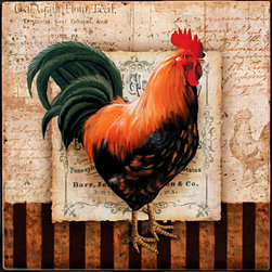 "Tile Art Gallery - Prize Rooster I - Ceramic Accent Tile, 4.25 in - This is a beautiful sublimation printed ceramic tile entitled ""Prize Rooster I"" by artist Conrad Knutsen. The printed tile displays a rooster with a canvas background. Pricing starts at just $14.95 for a 4.25 inch tile."